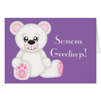 Pink Christmas Polar Bear Card