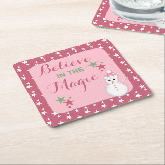 Pink Christmas snowman Square Paper Coaster