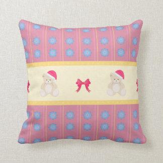 Pink Christmas Teddy Pillow