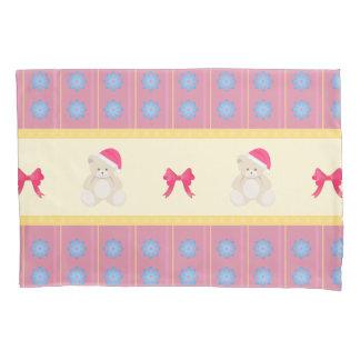 Pink Christmas Teddy Pillowcase
