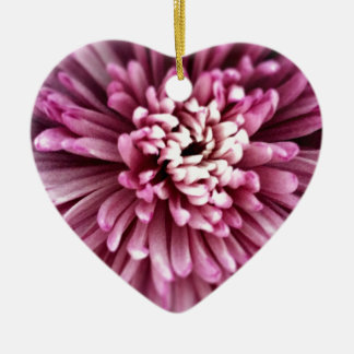 Pink Chrysanthemum Ceramic Heart Decoration