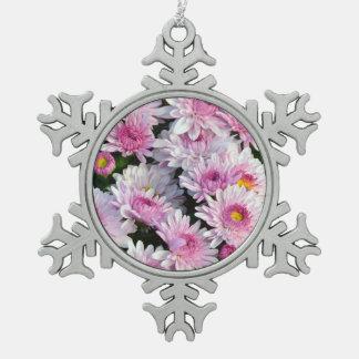 Pink chrysanthemum flowers christmas ornament
