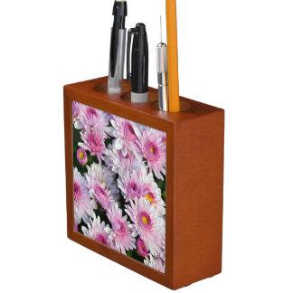 Pink chrysanthemum flowers desk organizer desk organiser