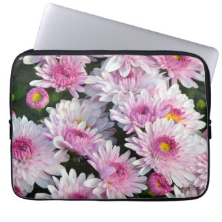 Pink chrysanthemum flowers laptop sleeve