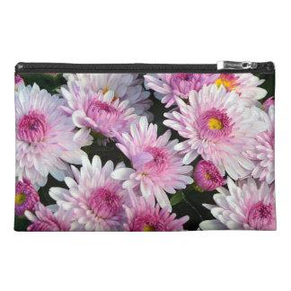 Pink chrysanthemum flowers travel bag travel accessory bags