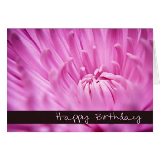 Pink Chrysanthemum Happy Birthday Card