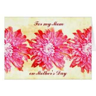Pink chrysanthemum mother's day card