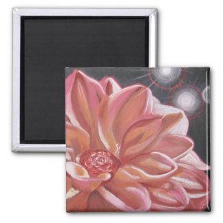 Pink chrysanthemum square magnet