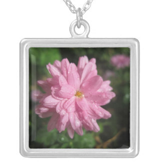 Pink Chrysanthemum Square Pendant Necklace