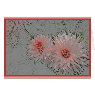 Pink chrysanthemums card