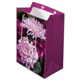 Pink Chrysanthemums Floral Medium Gift Bag