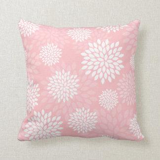 Pink Chrysanthemums Floral Pattern Throw Cushion