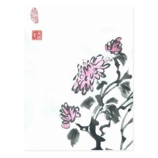 Pink Chrysanthemums Postcard