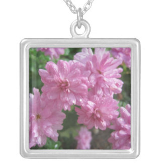 Pink Chrysanthemums Square Pendant Necklace