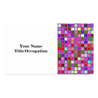 Pink Chunky Multicolored Square Tiles Pattern Business Card Templates