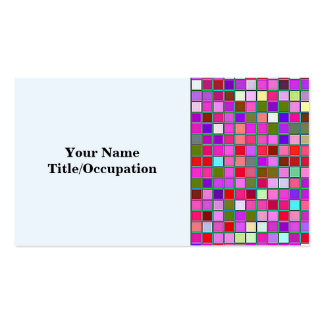 Pink Chunky Multicolored Square Tiles Pattern Pack Of Standard Business Cards
