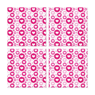 Pink Circle Hearts Gallery Wrapped Canvas