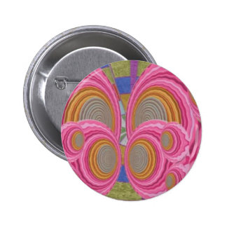 PINK Circle Waves full of Love n Warm Energy: GIFT 6 Cm Round Badge
