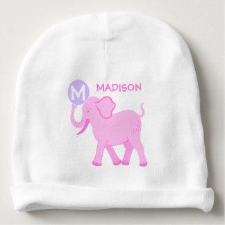 Pink Circus | Baby Girl Cute Elephant Monogram Baby Beanie
