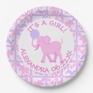 Pink Circus | Baby Shower Its A Girl Add A Name 9 Inch Paper Plate