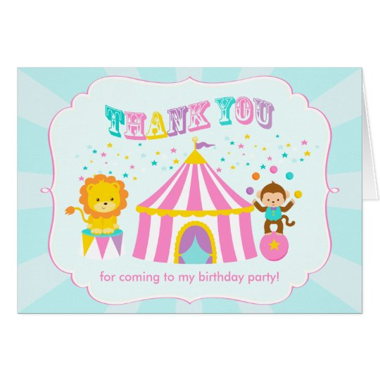 Pink Circus Carnival Personalised Thank You Card