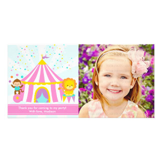Pink Circus Carnival Personalized Thank You Custom Photo Card