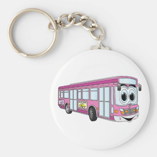 Pink City Bus Cartoon Basic Round Button Key Ring