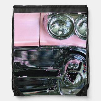 Pink Classic Car Drawstring Backpack