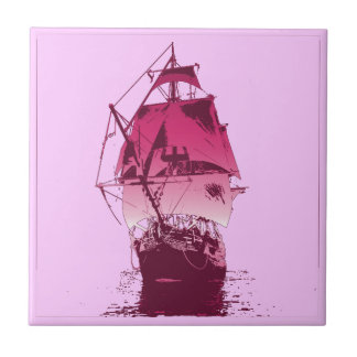 Pink Classic Ship Small Square Tile