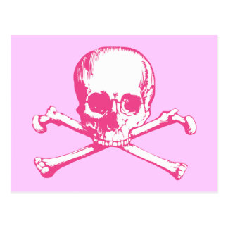 Pink Classic Skull and Crossbones Postcard