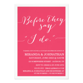 Pink Classy Couple s Shower Invitations