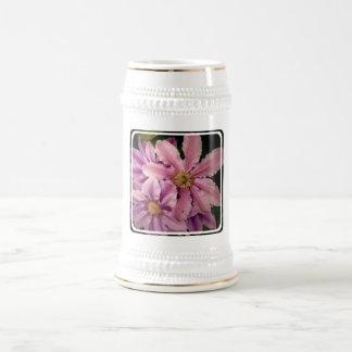 Pink Clematis Beer Stein Coffee Mug