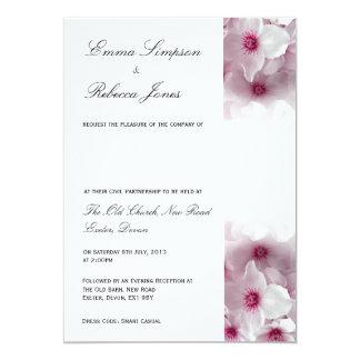 Pink Clematis - Civil Partnership Invitation 13 Cm X 18 Cm Invitation Card
