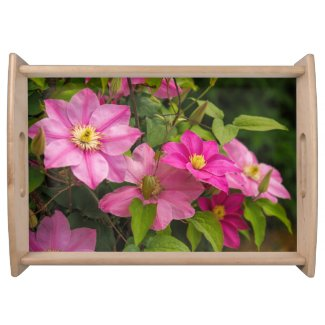 Pink Clematis Floral Serving Tray