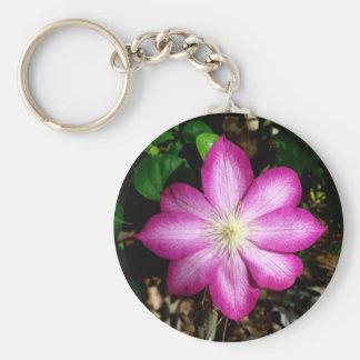 Pink Clematis Flower Keychain