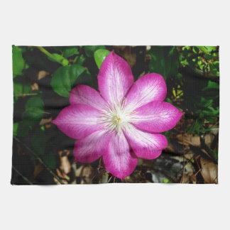 Pink Clematis Flower Towel