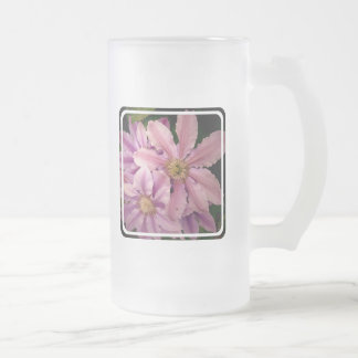 Pink Clematis Frosted Beer Mug