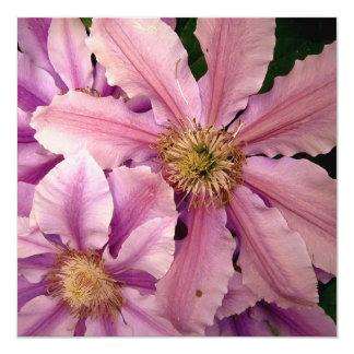 "Pink Clematis Invitations 5.25"" Square Invitation Card"
