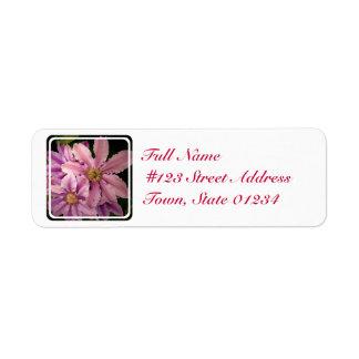 Pink Clematis Mailing Label Return Address Label