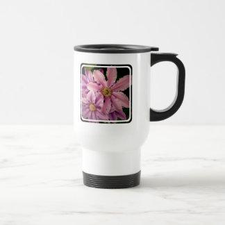 Pink Clematis Plastic Travel Mug