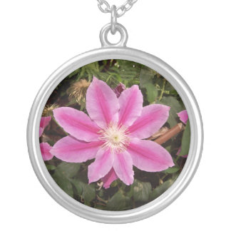 pink clematis round pendant necklace