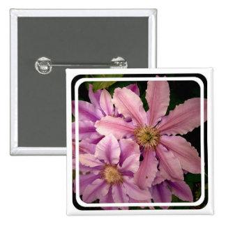 Pink Clematis Square Pin