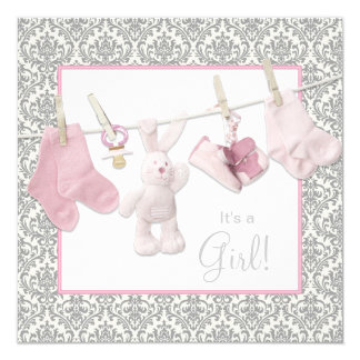 Pink Clothesline Baby Shower Card