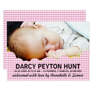 Pink Cloud Baby Photo Birth Announcements