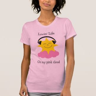 Pink cloud happy sun with headphones T-shirt