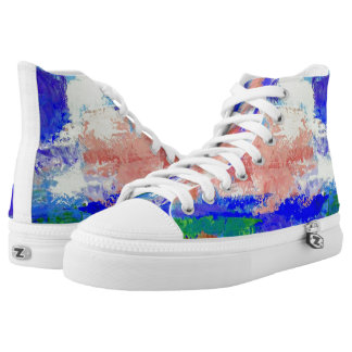 Pink Clouds in a Blue Sky Painted High Tops