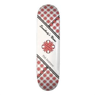 Pink Clover Ribbon Skate Board