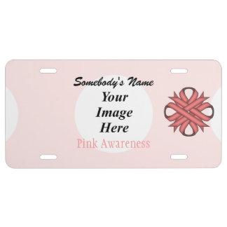 Pink Clover Ribbon Template License Plate