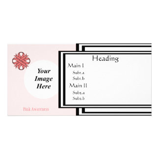 Pink Clover Ribbon Template Customised Photo Card