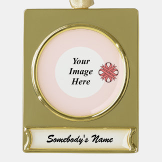 Pink Clover Ribbon Template Gold Plated Banner Ornament